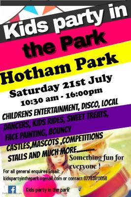Party in the Park-Hotham Park Saturday 21st July 2018