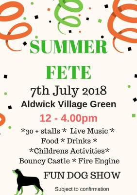 Our Summer Fete this year will be on Aldwick Village Green on 7th July from 12 - 4pm. There will be charity and craft stalls, together with live music, bouncy castle, children's activities, fire engine etc. We also hope to hold a Fun Dog Show - all subject to confirmation.