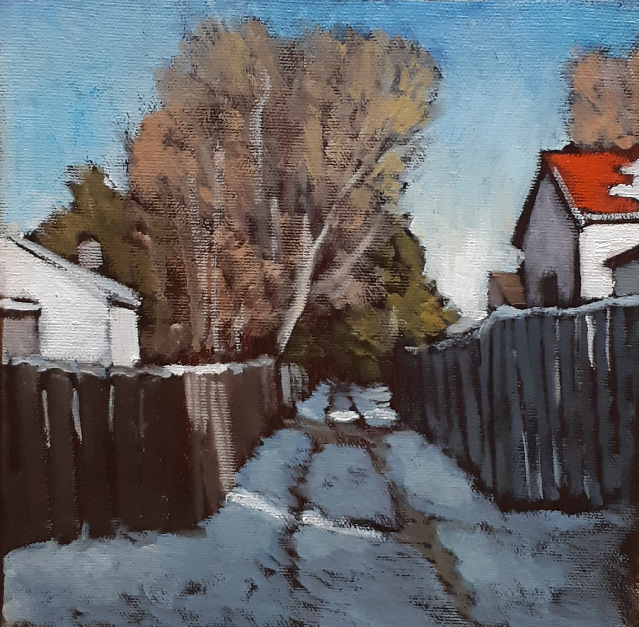 SHORTEST TO MY HOUSE - 12X12 - OIL ON CANCAS - 2019