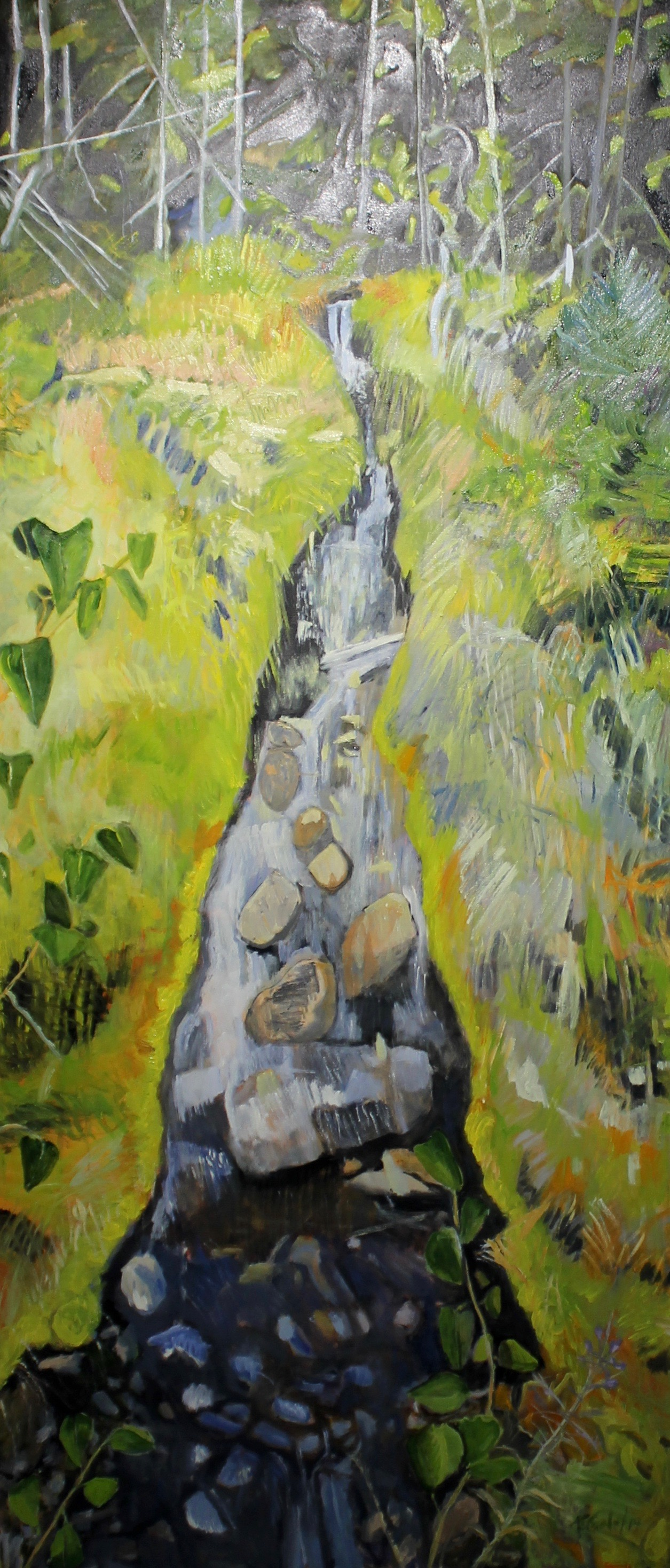 SMALL WATERFALL - 84X36 - OIL ON CANVAS - 2019