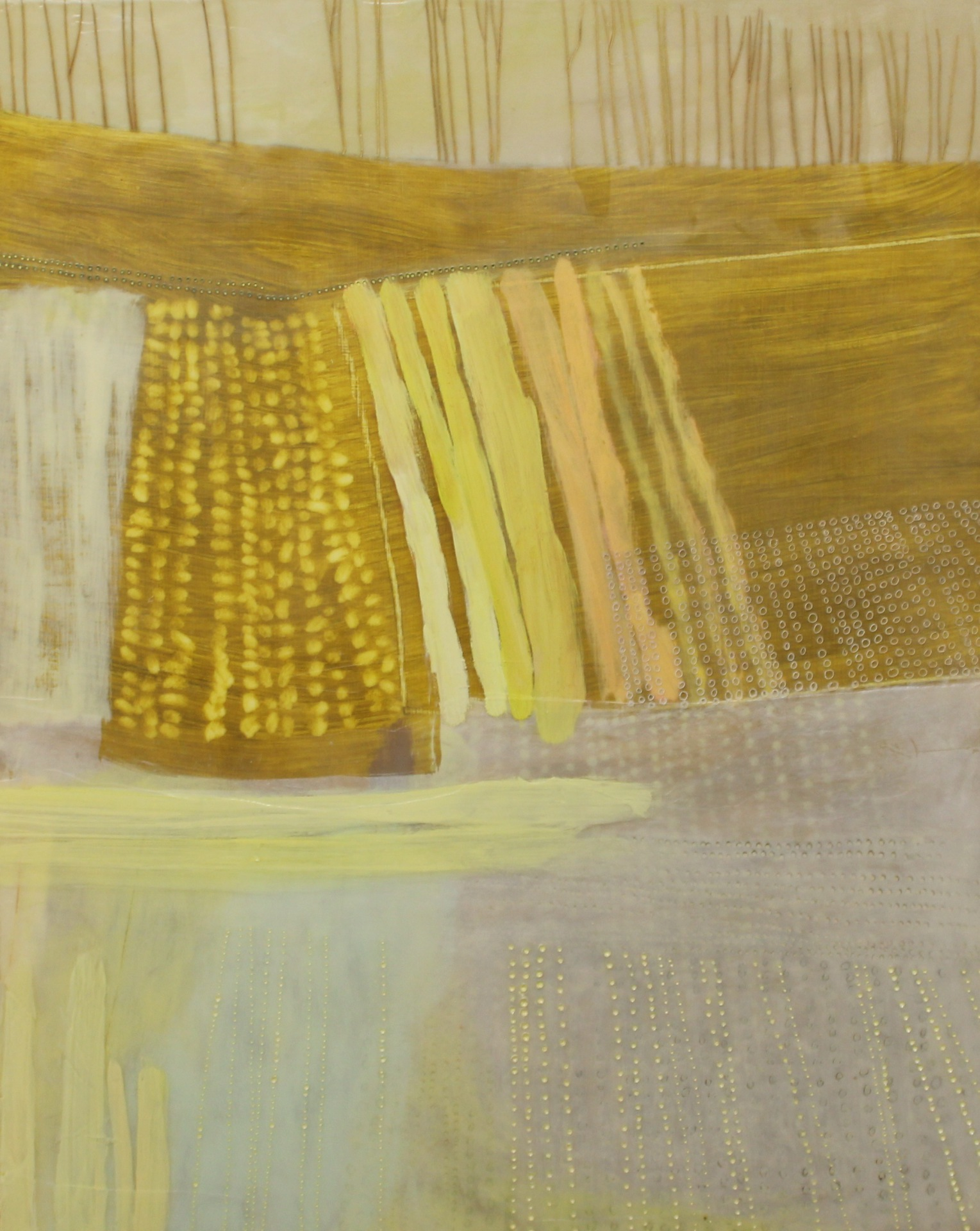 OUR FARM, SPRING 2014 - 20X16 - ENCAUSTIC/PANEL - 2014