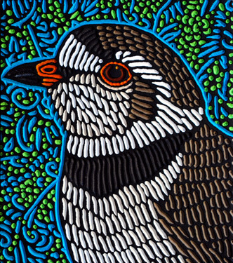 PIPING PLOVER - 10.5X11.75 - WOODCUT - 2014