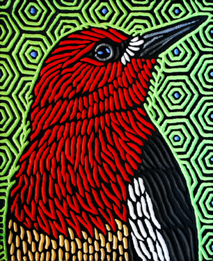 RED-BREASTED SAPSUCKER - 9.5X11.5 - WOODCUT - 2014