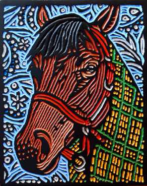 SEABISCUIT - 11X14 - WOODCUT - 2014