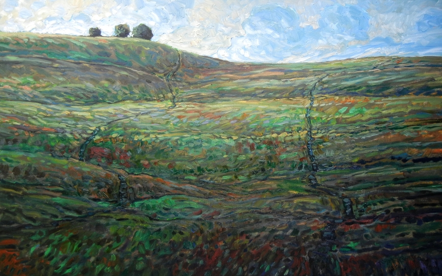 COW TRAILS & TREES - 30X48 - OIL ON CANVAS - 2015