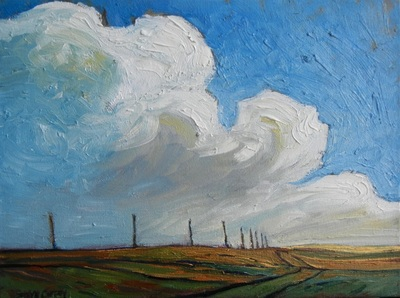 SUMMER POLES & TRAIL - 9X12 - OIL ON CANVAS - 2014
