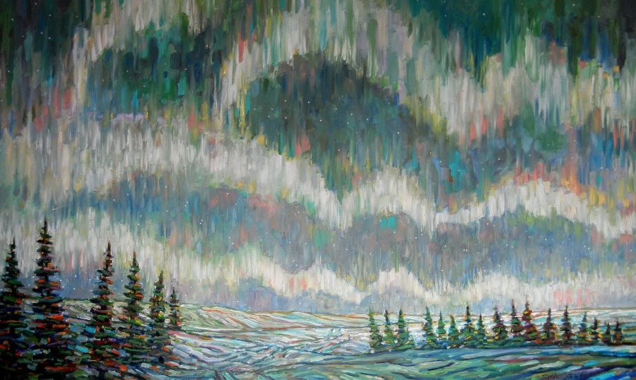AN EARLY NORTHERN LIGHT - 36X60 - OIL ON CANVAS - 2014