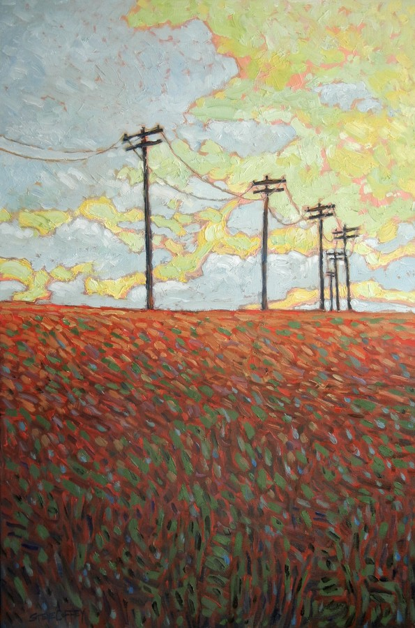 POLES & YELLOW SKY - 30X20 - OIL ON CANVAS - 2014