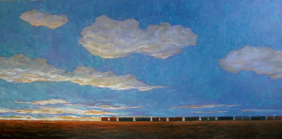 LATE BLACKIE TRAIN - 24X48 - OIL ON CANVAS - 2013