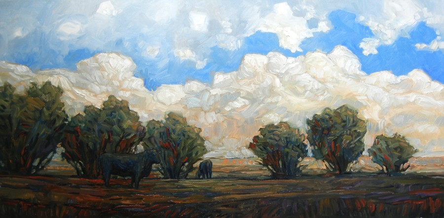 COWS IN BUSHES - 24X48 - OIL ON CANVAS - 2013