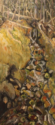 CHERRYVILLE FALLS - 57X25 - OIL ON CANVAS - 2008
