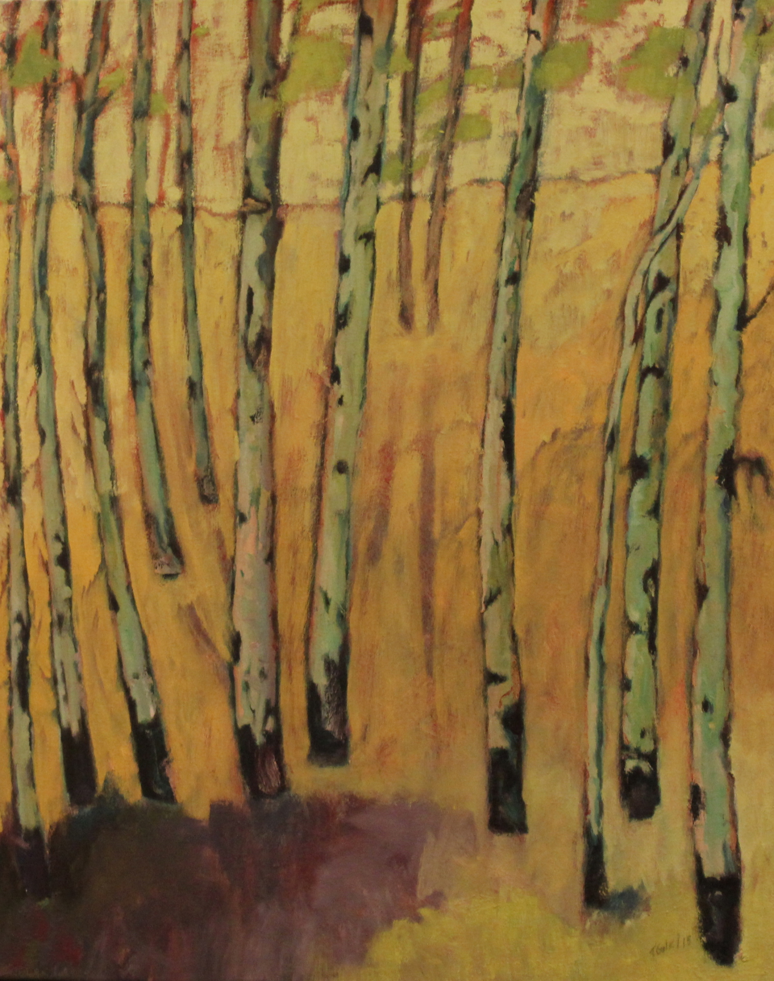 ASPENS ON GOLD - 30X24 - OIL ON CANVAS - 2013