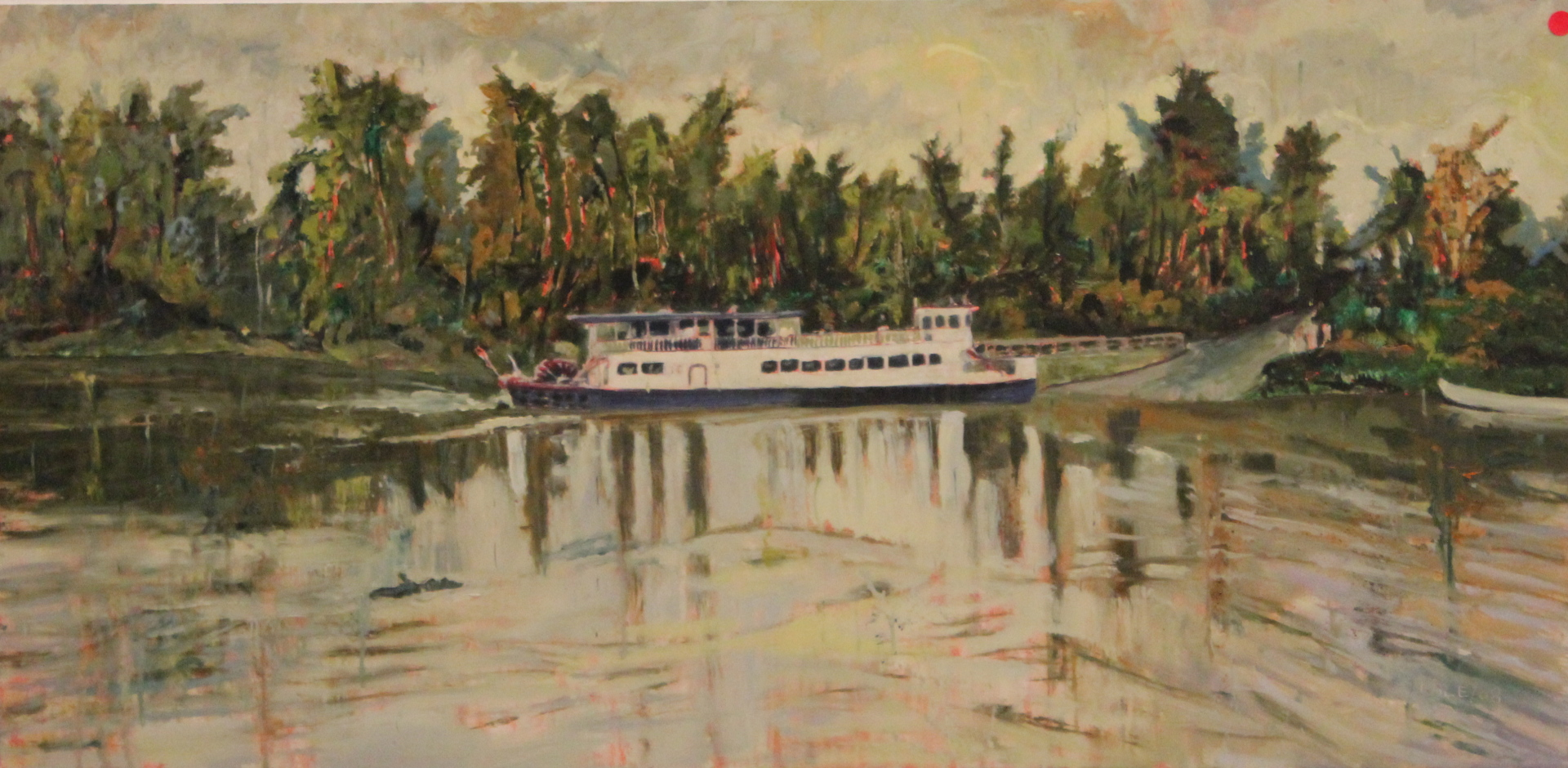 STEAM BOAT ON LAKE - 24X48 - OIL ON CANVAS - 2009