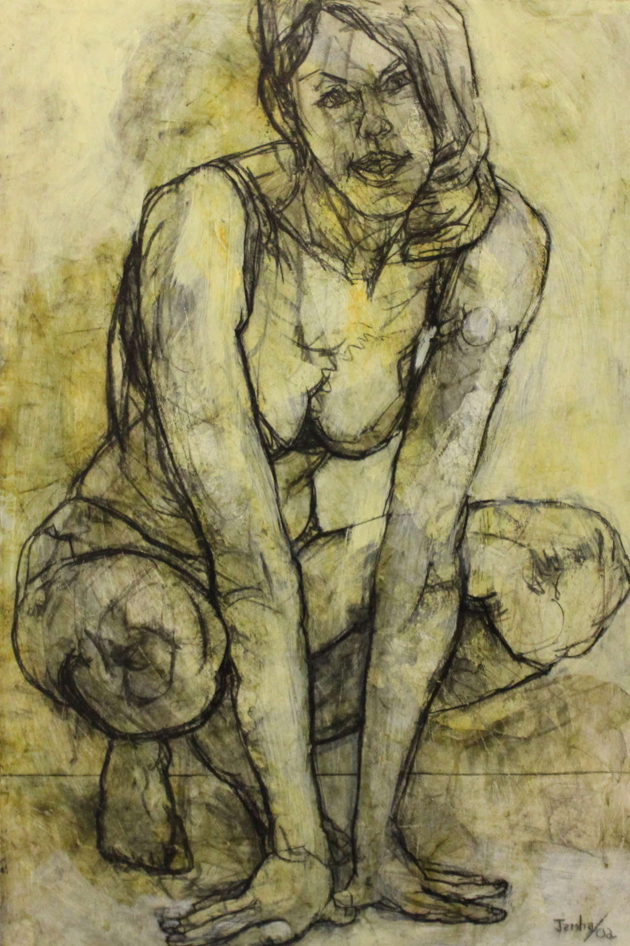 CROUCHING - 48X32 - MM ON PANEL - 2002