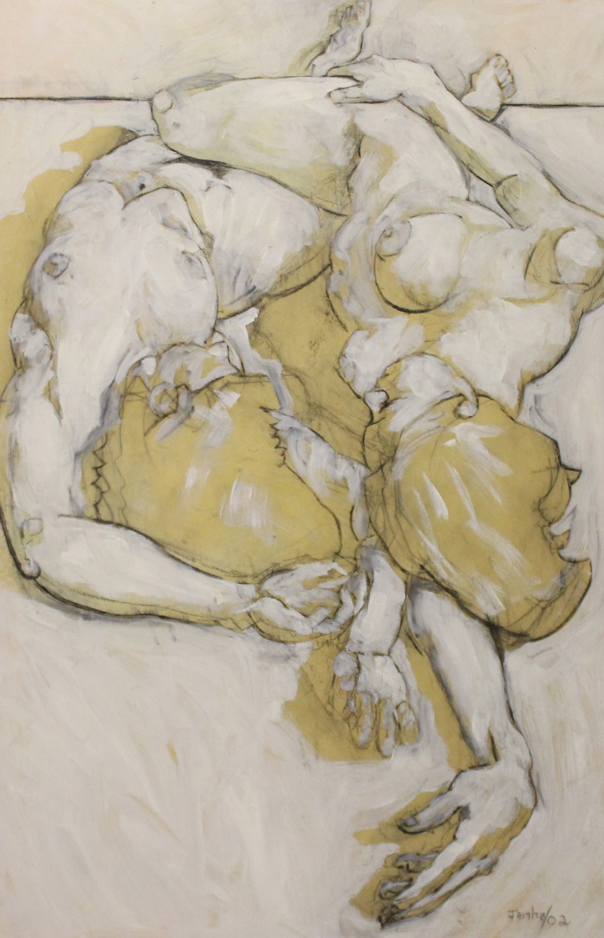 TWO FIGURES - 48X32 - MM ON PANEL - 2002