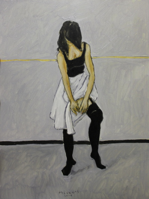 DANCER TYING GARTER - 16X12 - OIL ON PANEL - 2014