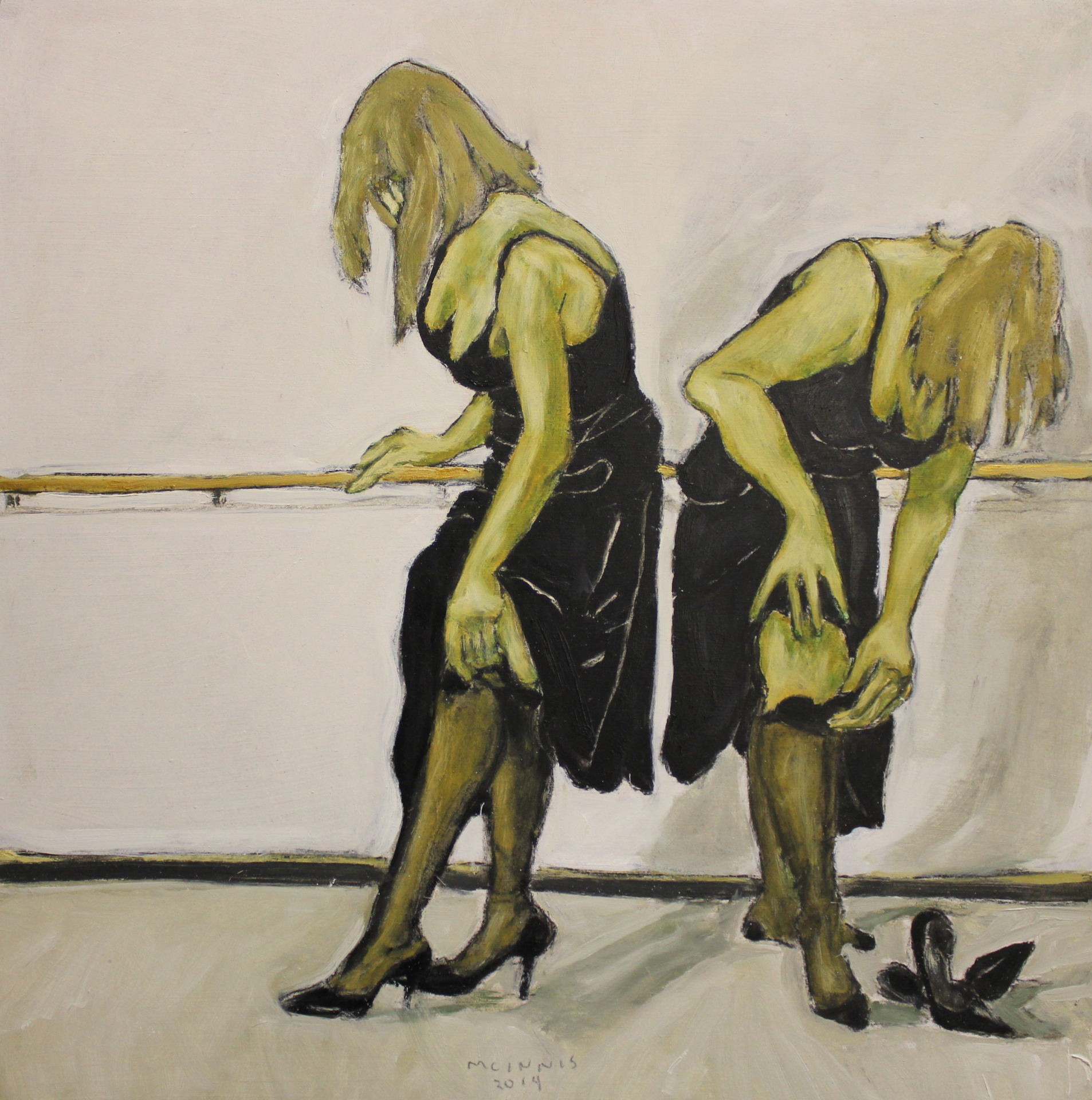 2 BALLERINAS - 16X16 - OIL ON PANEL - 2014