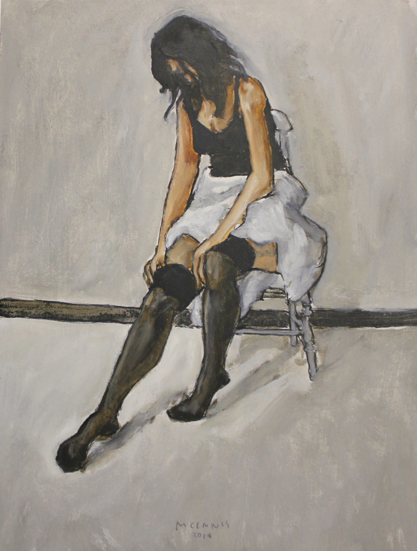 SEATED DANCER - 16X12 - OIL ON PANEL - 2014