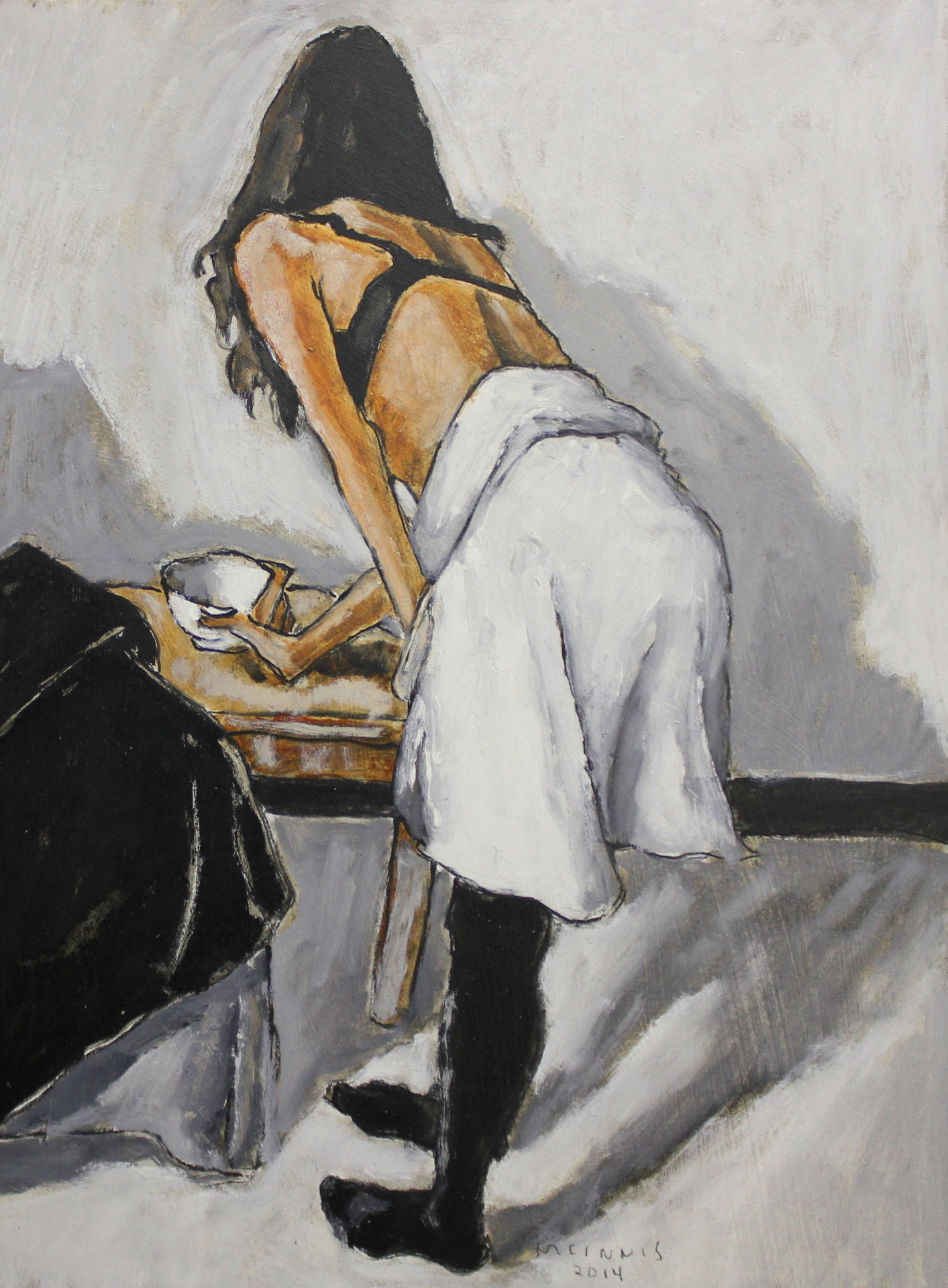 DANCER TAKING A CUP - 16X12 - OIL ON PANEL - 2014