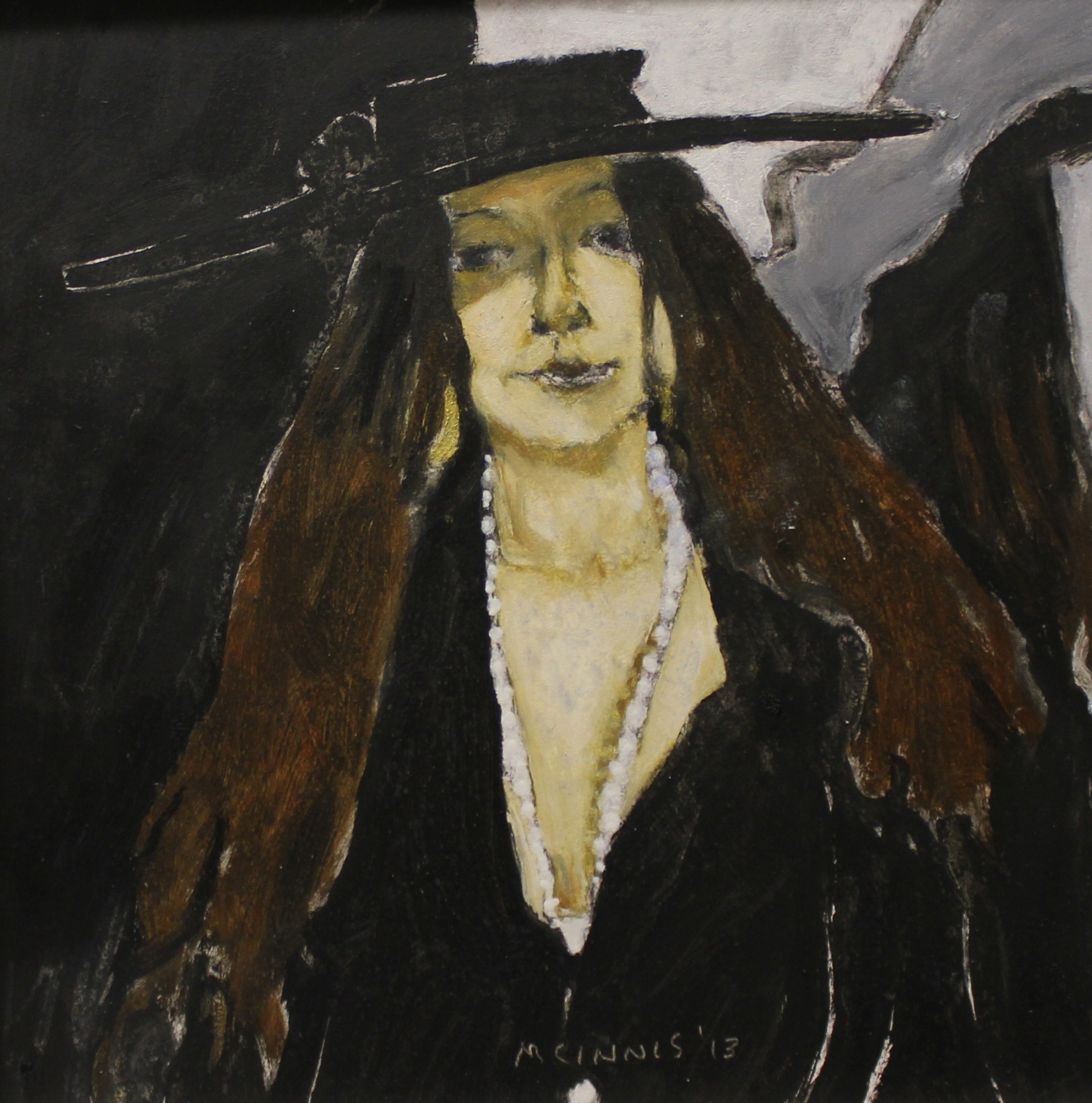 SHADOW - MARLA WITH BLACK HAT - 9X9 - OIL ON PANEL - 2013