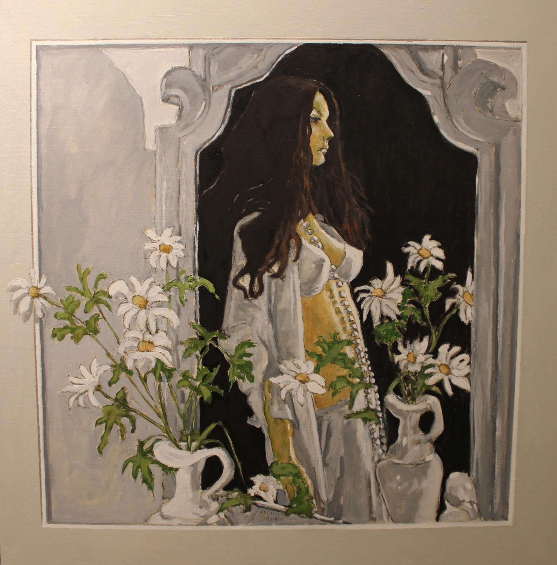 MARLA IN THE MIRROR - 30X30 - OIL ON LINEN - 2014