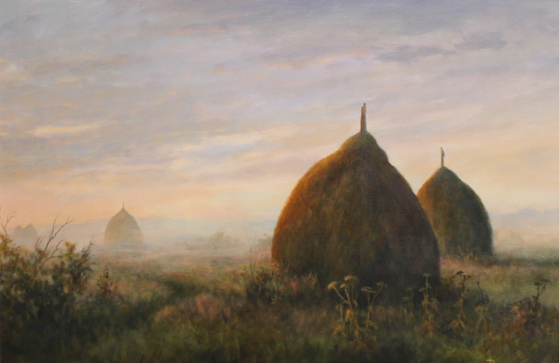 MEMORIES - HAYSTACKS AT SUNRISE - 20X30 - ACRYLIC ON CANVAS - 2012