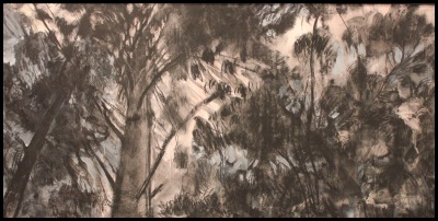 TREE TOPS - 22X48 - CHARCOAL ON PANEL - 2011