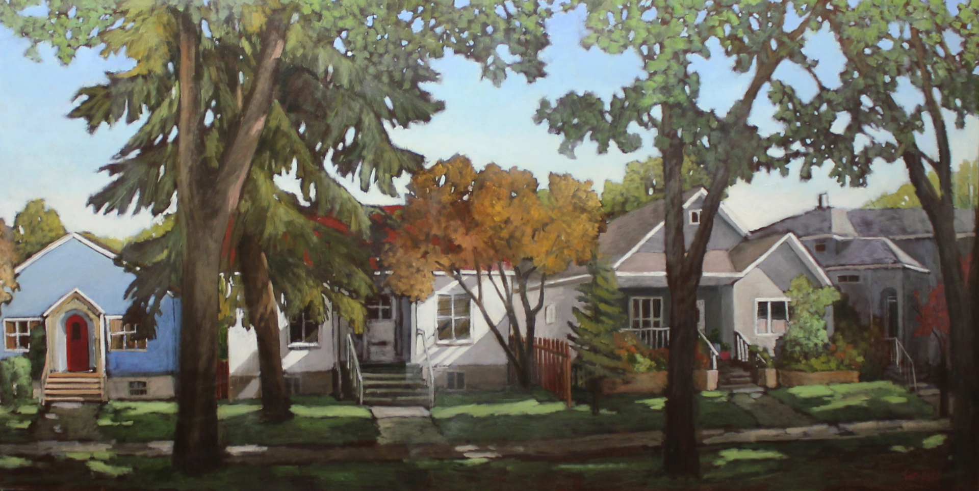 UNIVERSITY AVENUE HOUSES - 36X72 - OIL ON CANVAS - 2015