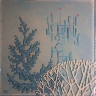 BLUE SPRUCE BLUE TOWER - 12X12 - MM ON PANEL - 2015
