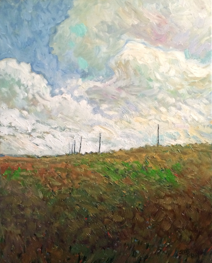 DANCING FIELD WITH POLES - 30X24 - OIL ON CANVAS - 2016