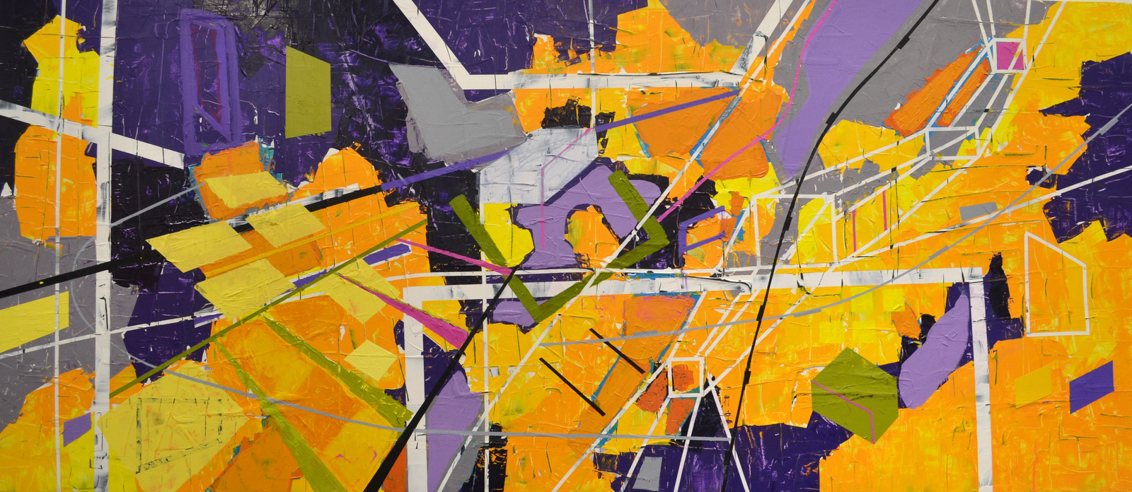 URBAN DYNAMICS - 33X76 - ACRYLIC ON BIRCH WOOD PANEL