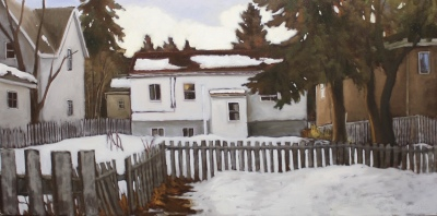 WINTER NEIGHBORS - 24 X 48 - OIL ON CANVAS - 2016