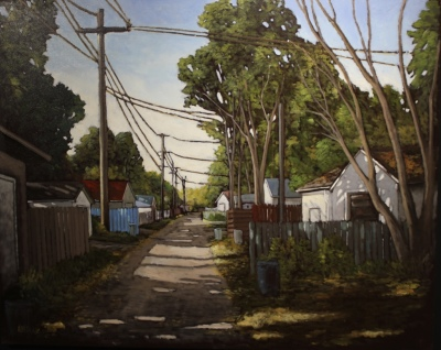 THE BLUE FENCE - 48X60 - OIL ON CANVAS - 2016