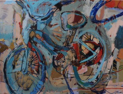 BIKING LINES II -36x48- OIL ON CANVAS- 2016