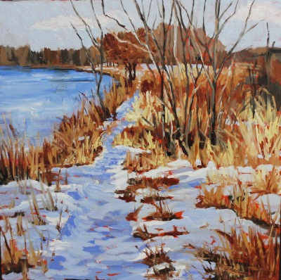 Winter Grasses on the Bow-12x12-OIL ON PANEL-2016