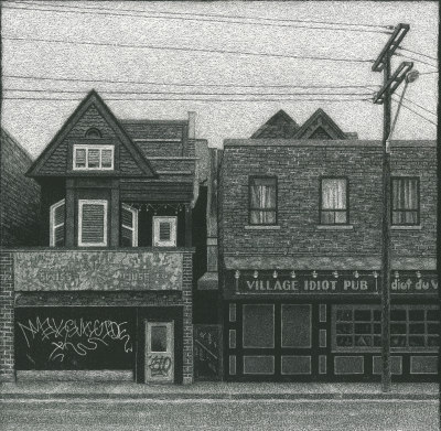 VILLAGE IDIOT PUB - 12X12 - SCRATCHBOARD