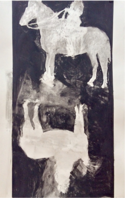 UNTITLED (HORSE AND) - 44X36 - CHARCOAL ON PAPER - 2016