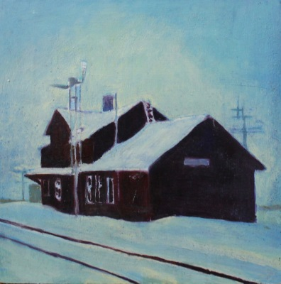 DUNMORE STATION - 12X12 - OIL ON PANEL - 2008