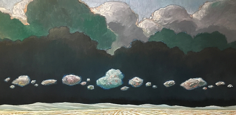 WINTER CLOUD PARADE - 24X48 - OIL ON CANVAS - 2018