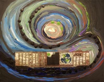 JOE - 8x10 - OIL, ACRYLIC, INK COLLAGE ON CANVAS - 2018