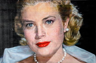 GRACE KELLY IN THE REAR WINDOW - 40X60 - OIL ON CANVAS - 2017