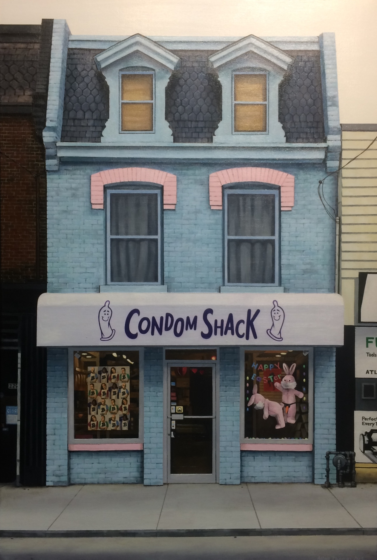 CONDOM SHACK - 36X24 - OIL ON CANVAS - 2018