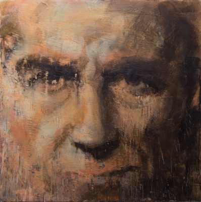 PICTURES FROM ROME - SELF PORTRAIT AS CITIZEN - 64X64 - ENCAUSTIC ON CANVAS - 2017-2018