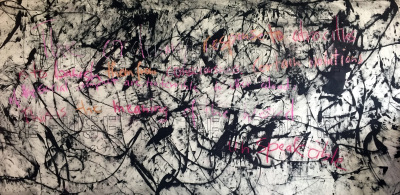 The Ordinary Response to Atrocities is to Banish Them from Consciousness - 50 x 108 - mixed media on canvas - 2018