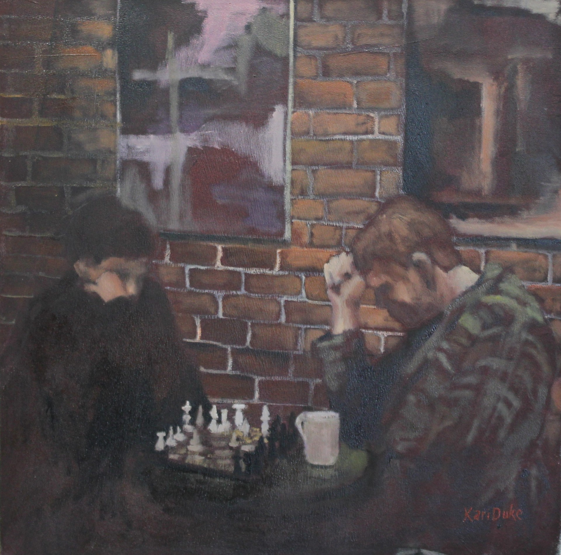 CHESS AT THE SUGAR BOWL -  24x24 - OIL ON CANVAS - 2004