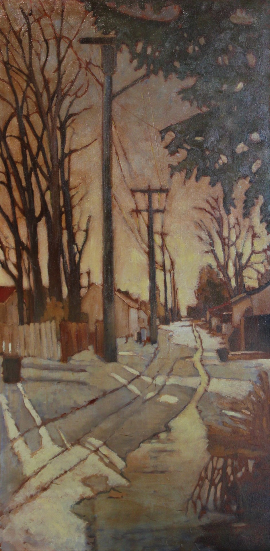 Winter Alley - 40 x 20 - oil on canvas