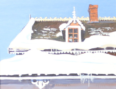 SNOW ON THE ROOF - 8X10 - OIL ON PANEL - 1997