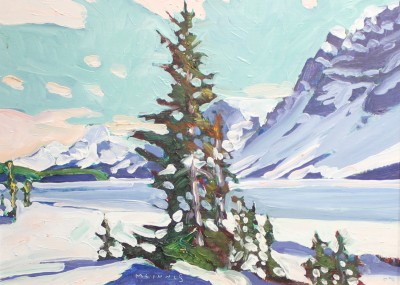 WINTER AT BOW LAKE - 9X12 - OIL ON PANEL  2003