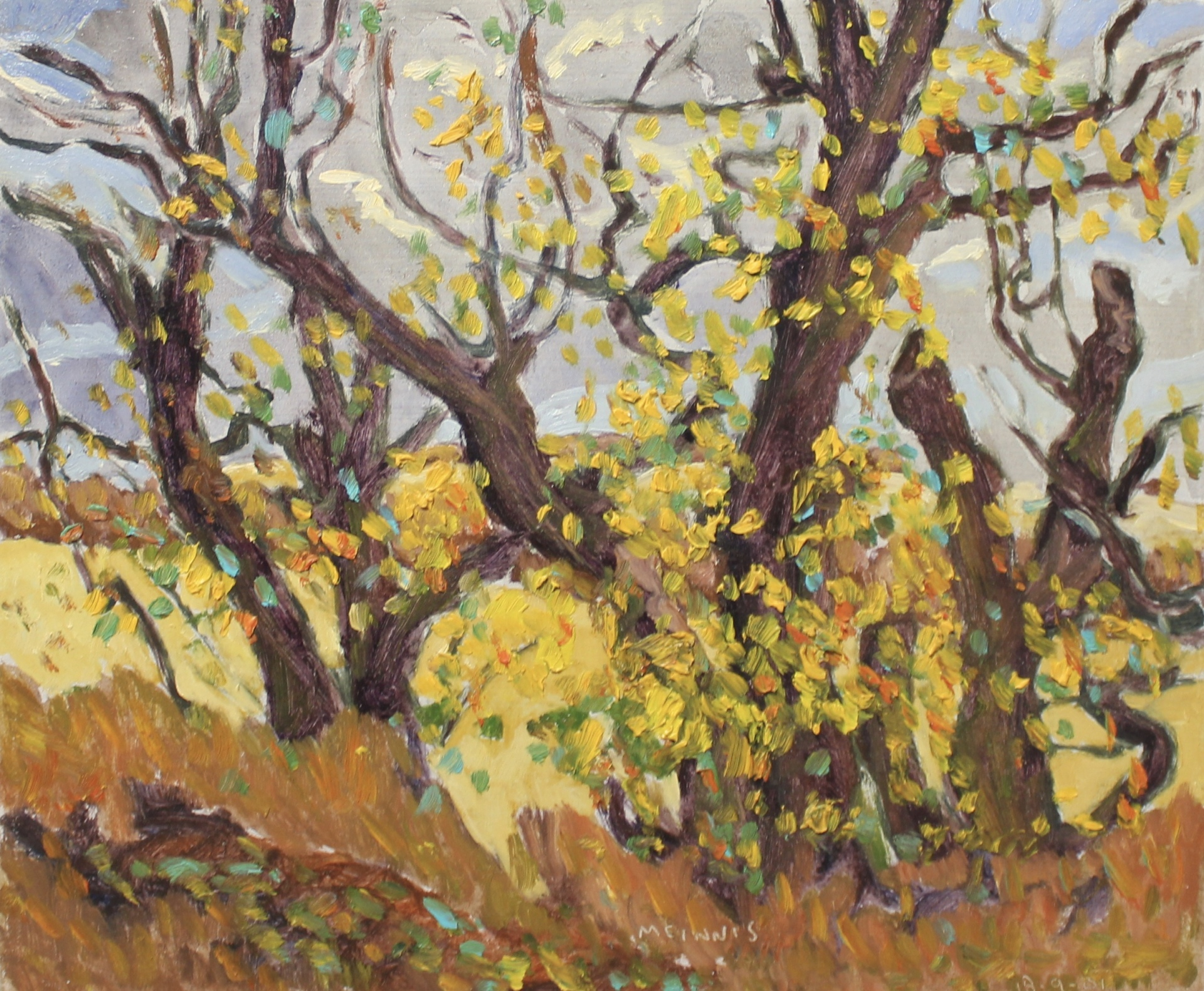 YELLOWING TREES - 10X12 - OIL ON PANEL - 2001