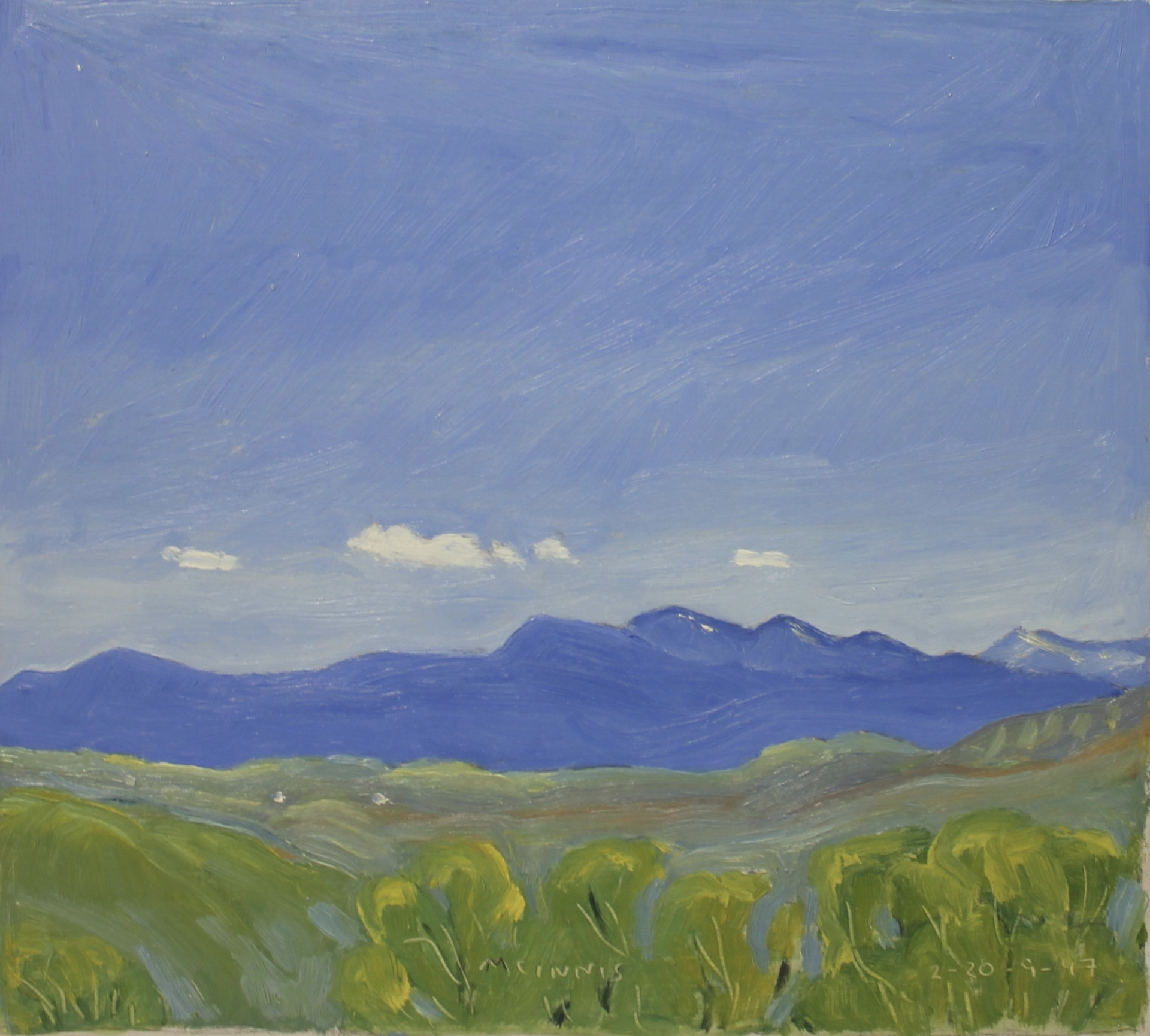 GREEN TREES AND MOUNTAINS - 9X10 - OIL ON PANEL - 1997